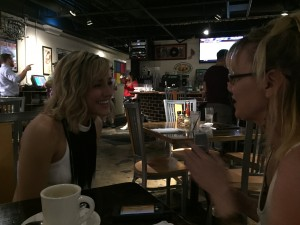 Reporter Katy Rogers interviews Mary Sarah at Soulshine Pizza